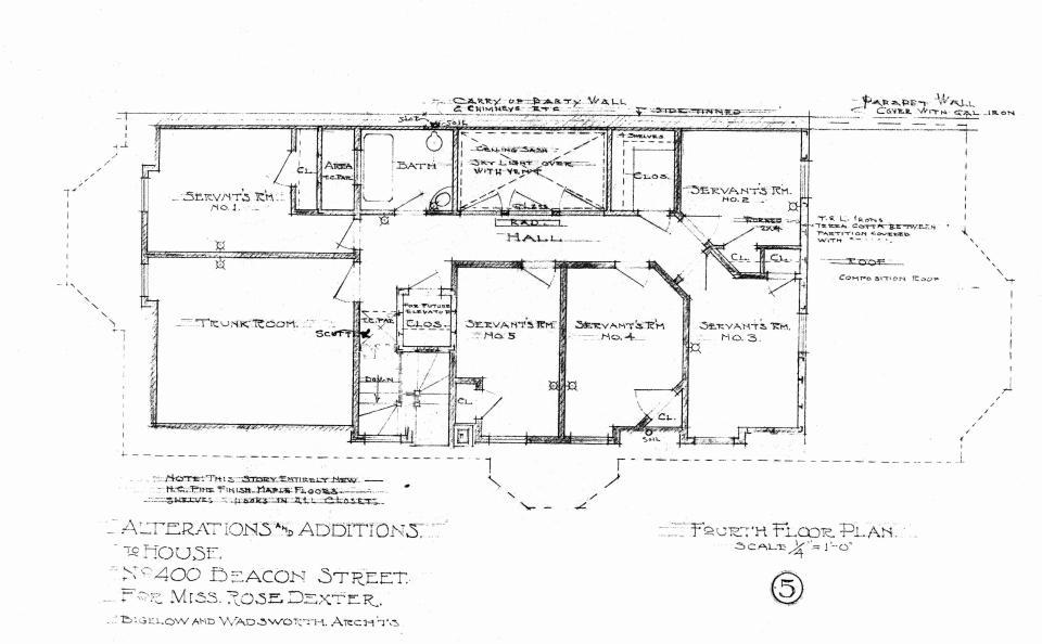 400 Beacon, fourth floor plan (1910)