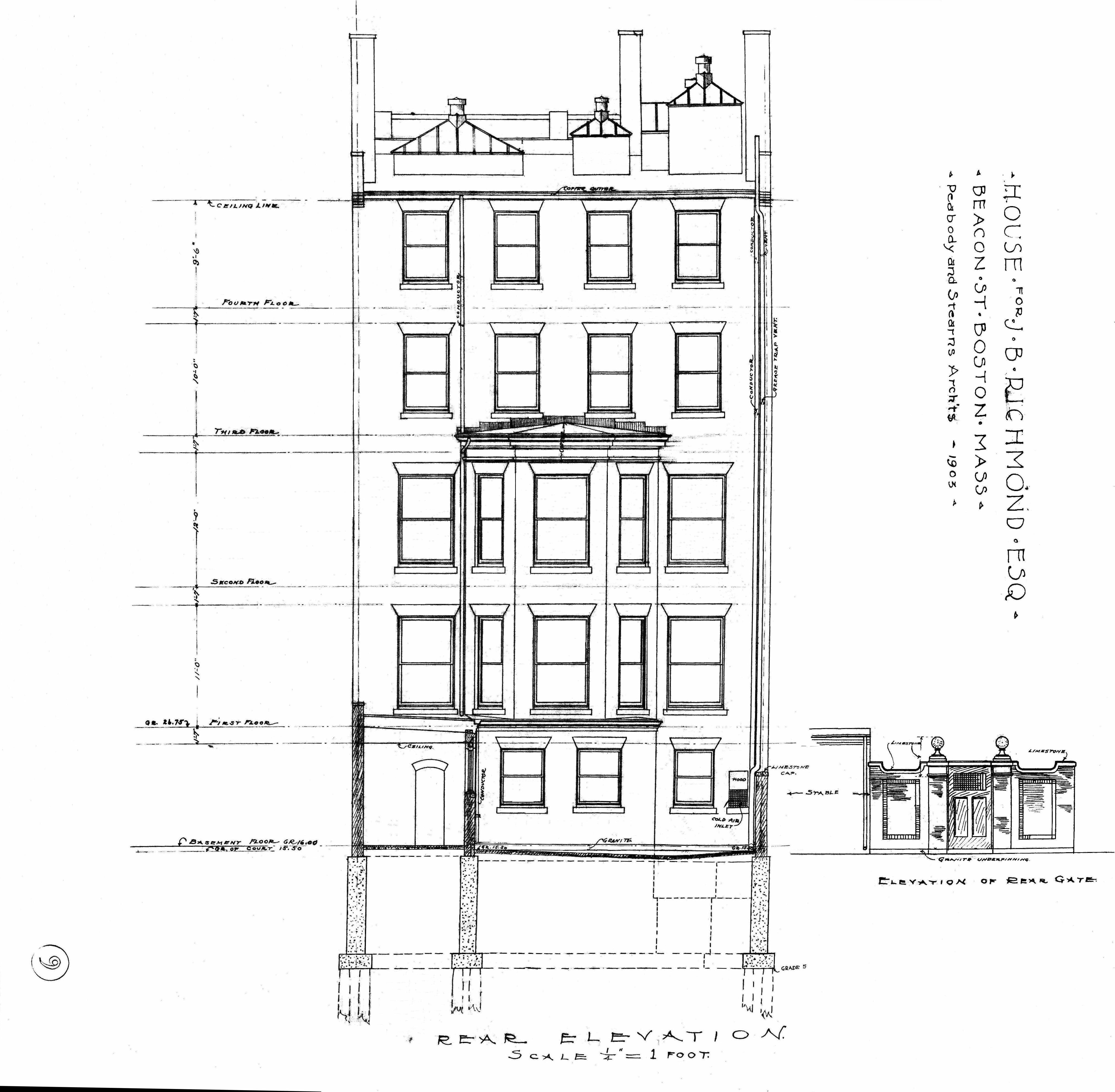 Architectural plans 310 beacon 1903 back bay houses for What is rear elevation