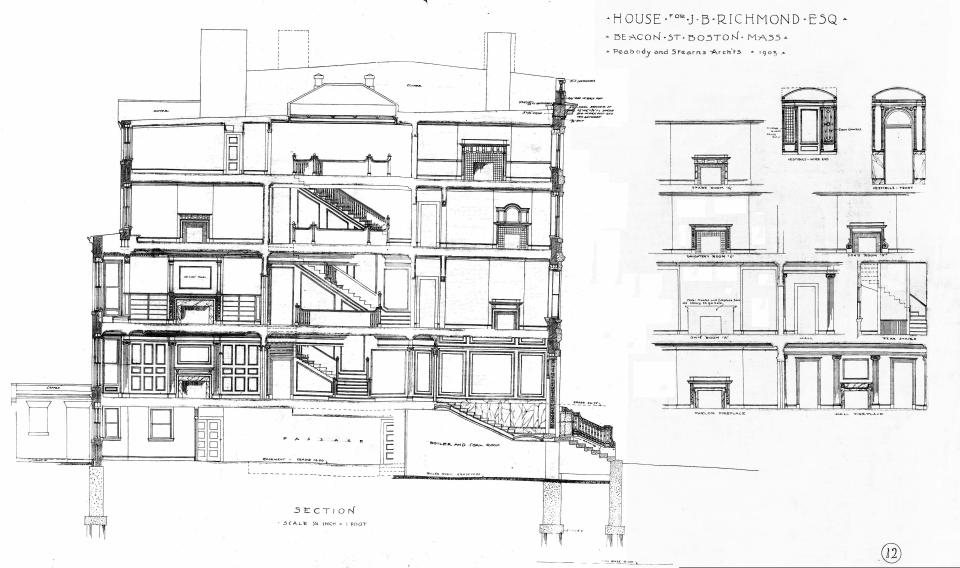 310 Beacon (1903), section and interior details