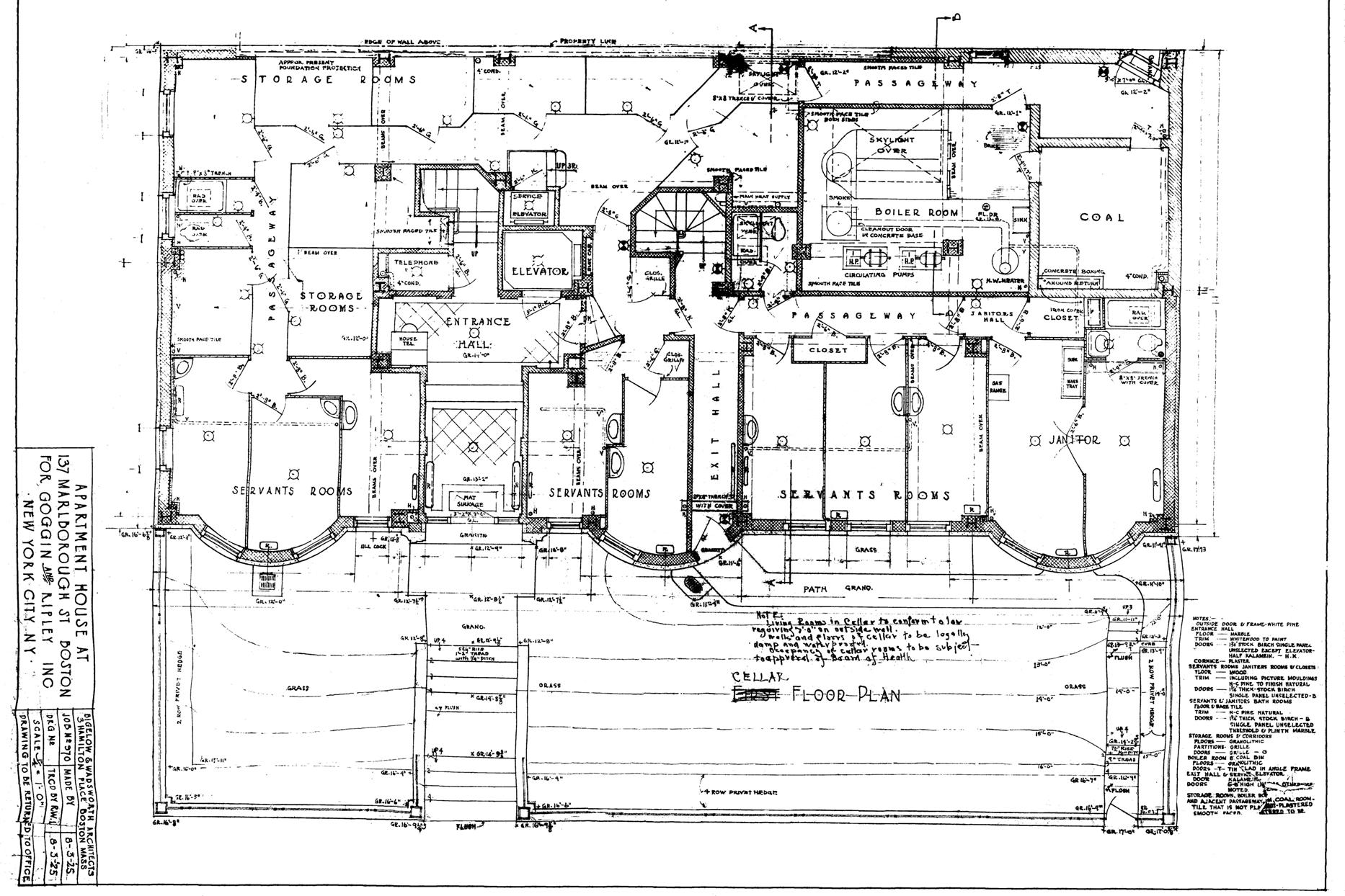 Architectural plans 137 marlborough 1925 back bay houses for Marlborough house floor plan