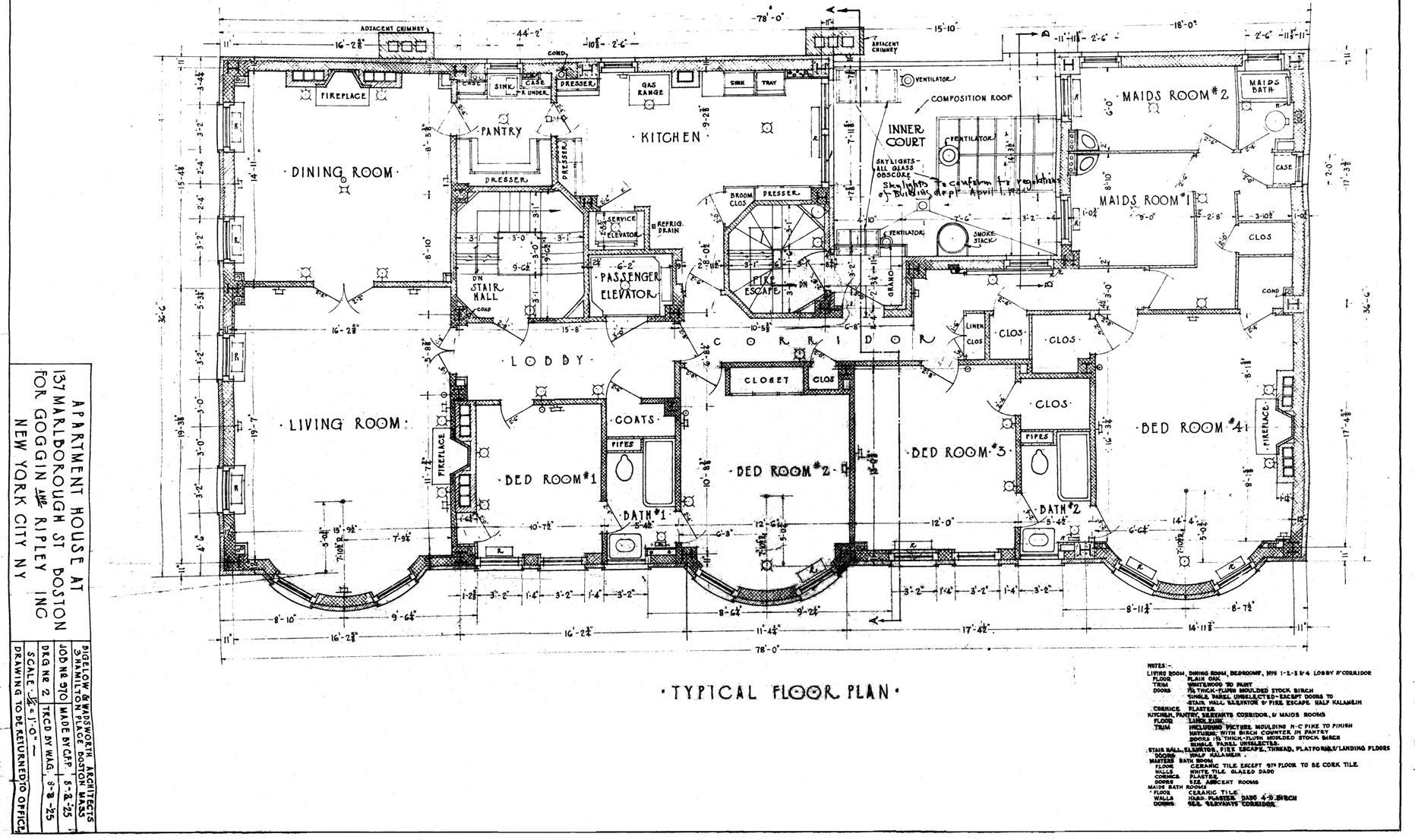 Architectural Plans: 137 Marlborough (1925)